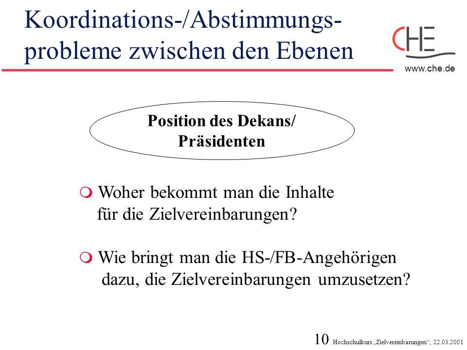 Koordinations-/Abstimmungs-probleme zwischen den Ebenen