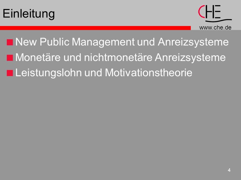 Einleitung New Public Management und Anreizsysteme