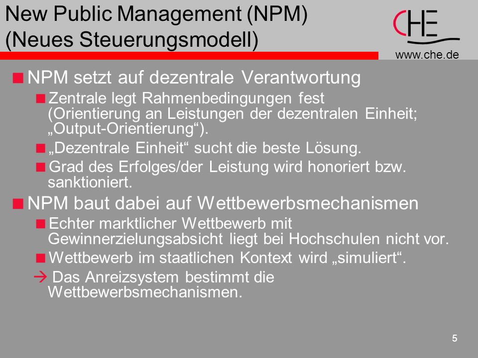 New Public Management (NPM) (Neues Steuerungsmodell)