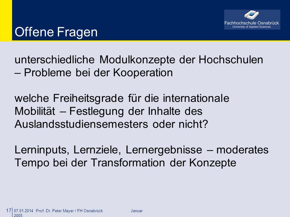 Offene Fragen unterschiedliche Modulkonzepte der Hochschulen – Probleme bei der Kooperation.