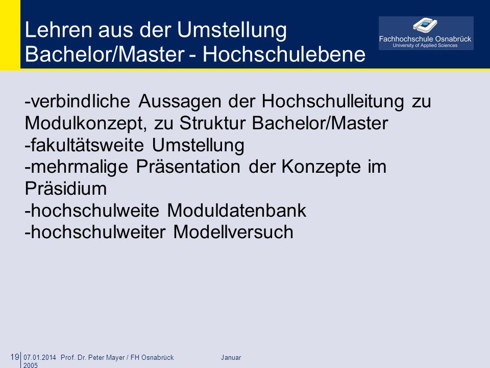 Lehren aus der Umstellung Bachelor/Master - Hochschulebene