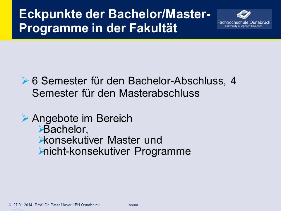 Eckpunkte der Bachelor/Master-Programme in der Fakultät