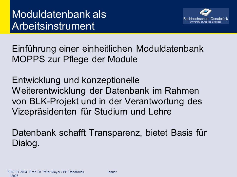 Moduldatenbank als Arbeitsinstrument