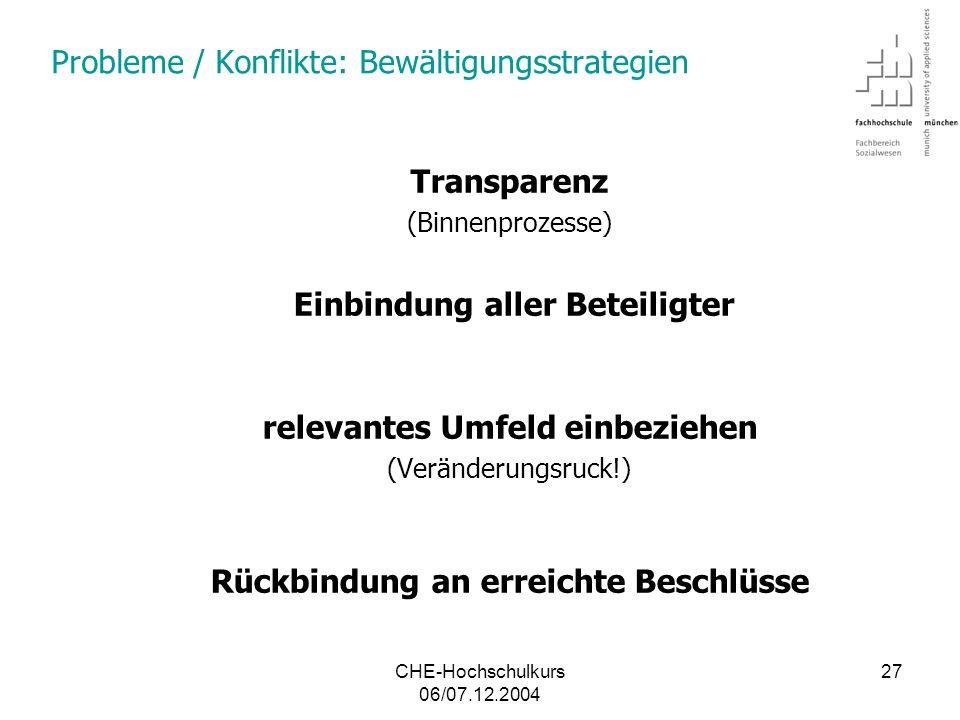 Probleme / Konflikte: Bewältigungsstrategien
