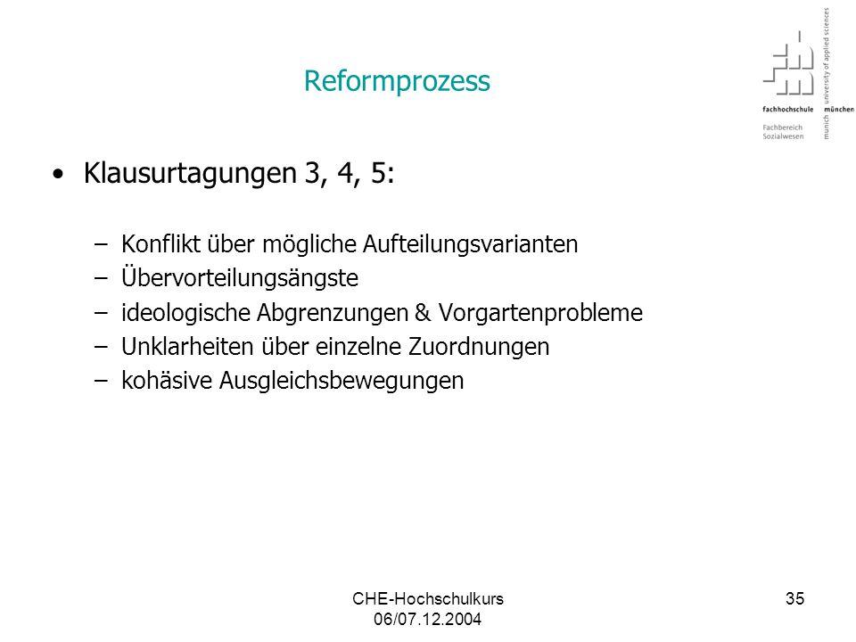 Reformprozess Klausurtagungen 3, 4, 5: