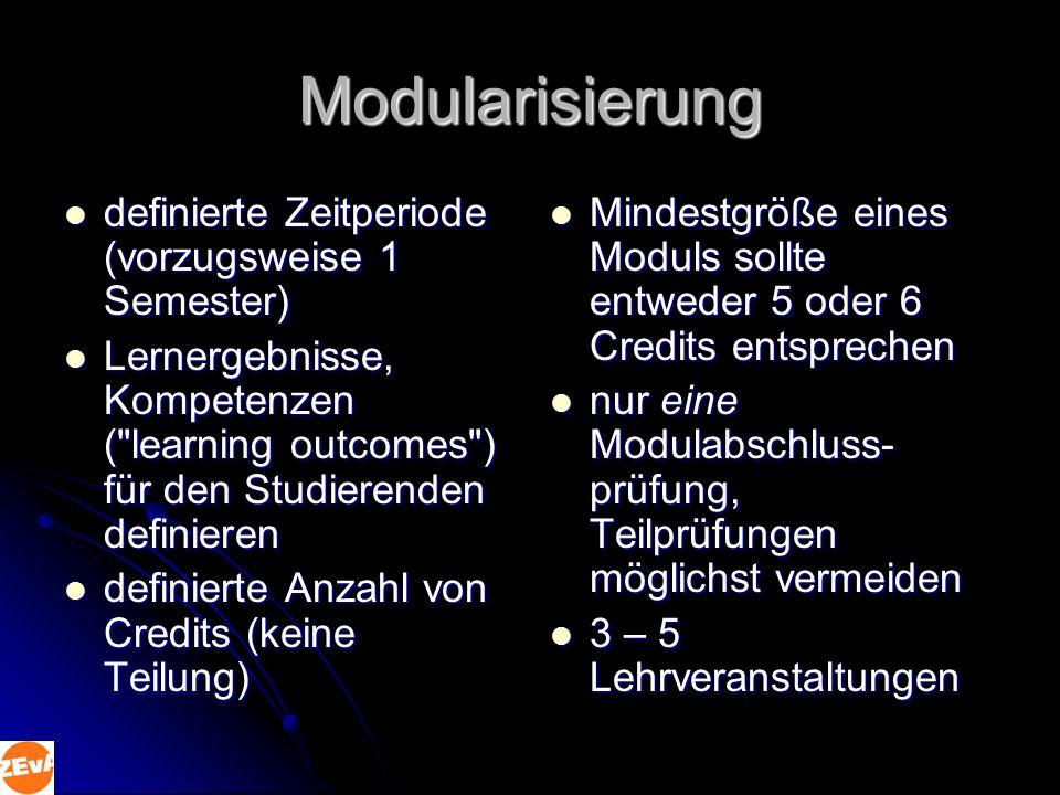 Modularisierung definierte Zeitperiode (vorzugsweise 1 Semester)