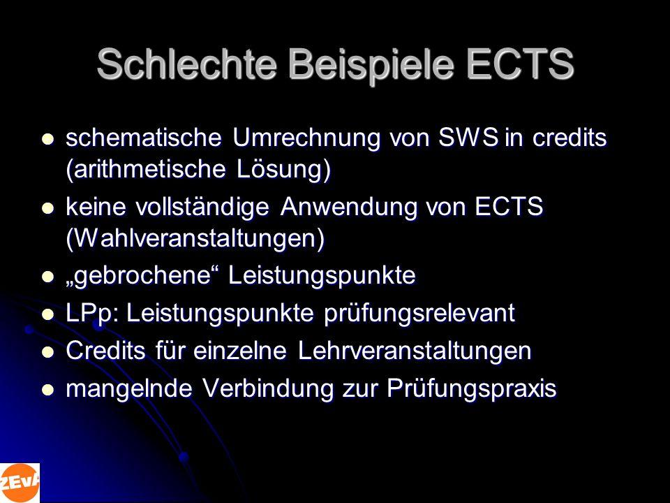 Schlechte Beispiele ECTS