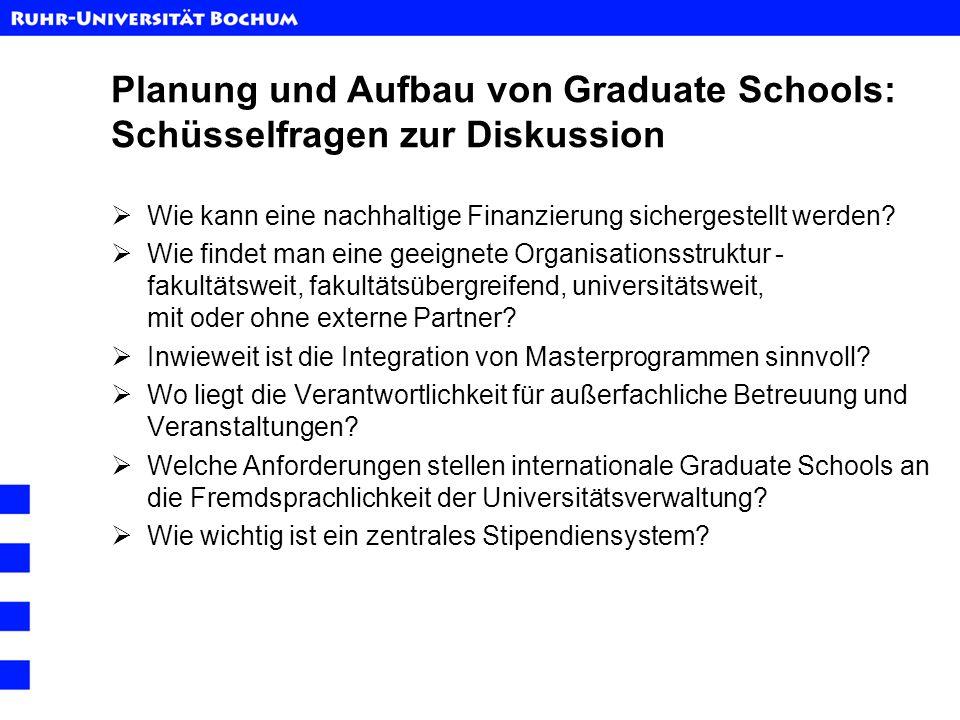 Planung und Aufbau von Graduate Schools: Schüsselfragen zur Diskussion