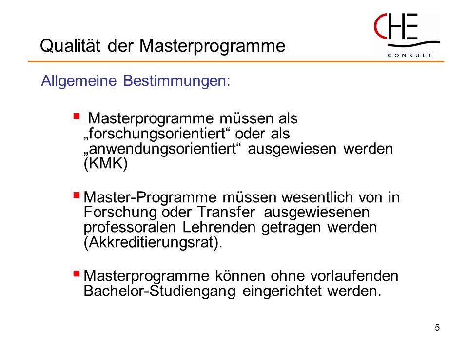Qualität der Masterprogramme