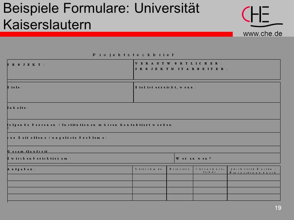 Beispiele Formulare: Universität Kaiserslautern