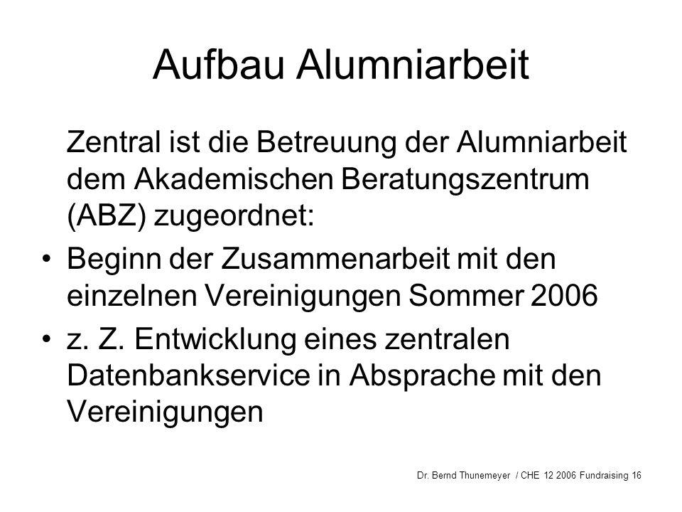 Aufbau Alumniarbeit Zentral ist die Betreuung der Alumniarbeit dem Akademischen Beratungszentrum (ABZ) zugeordnet: