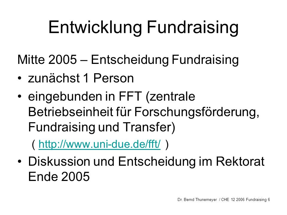 Entwicklung Fundraising