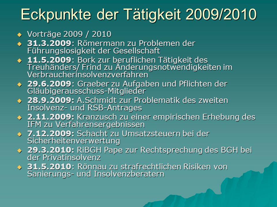 Eckpunkte der Tätigkeit 2009/2010