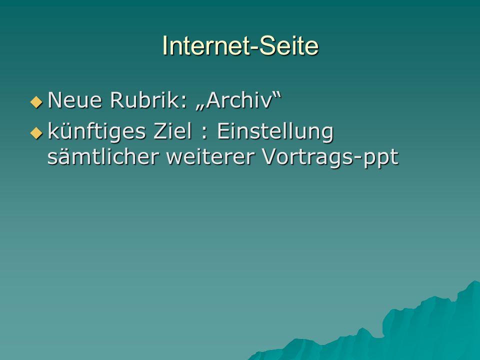 """Internet-Seite Neue Rubrik: """"Archiv"""