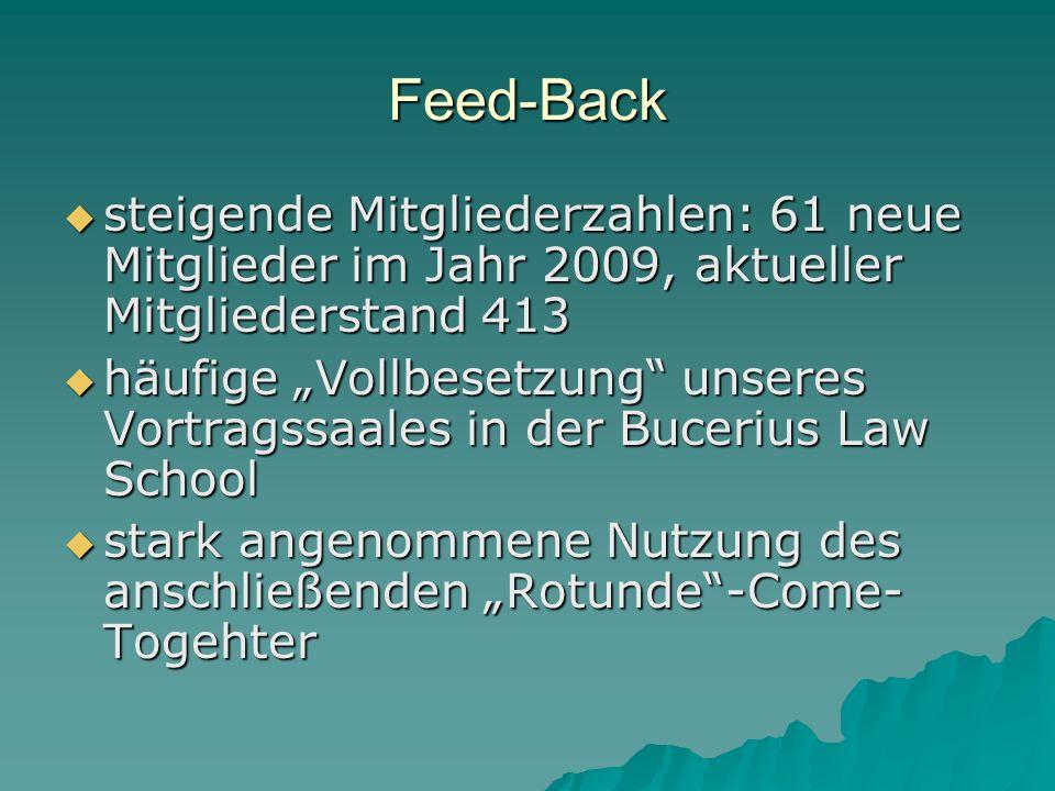 Feed-Back steigende Mitgliederzahlen: 61 neue Mitglieder im Jahr 2009, aktueller Mitgliederstand 413.