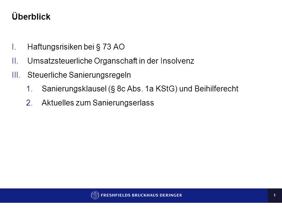 Überblick Haftungsrisiken bei § 73 AO