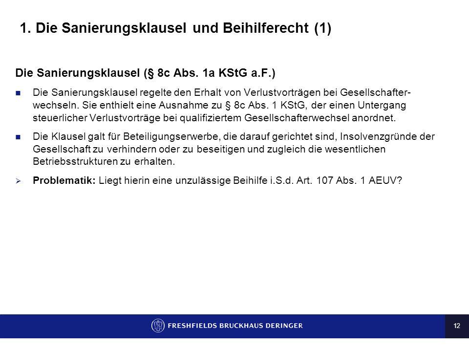 1. Die Sanierungsklausel und Beihilferecht (1)