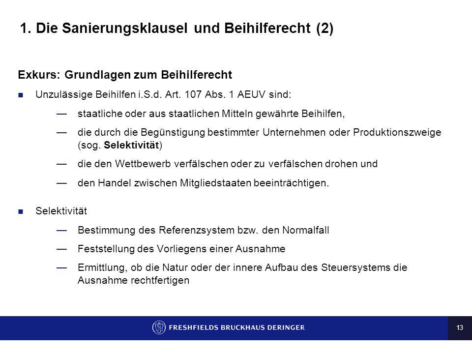 1. Die Sanierungsklausel und Beihilferecht (2)