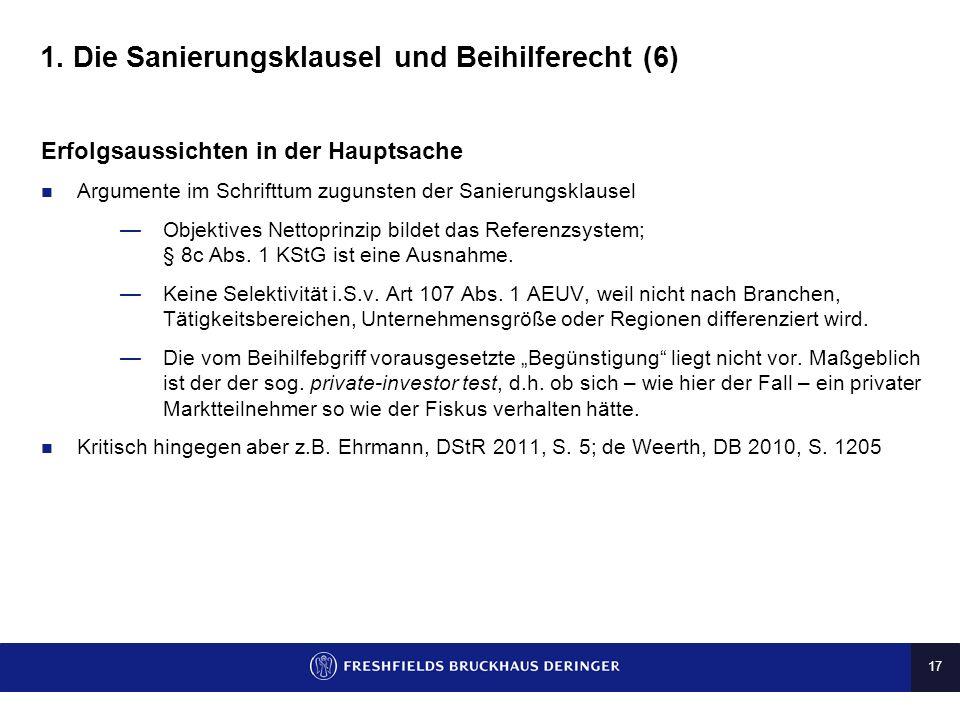 1. Die Sanierungsklausel und Beihilferecht (6)