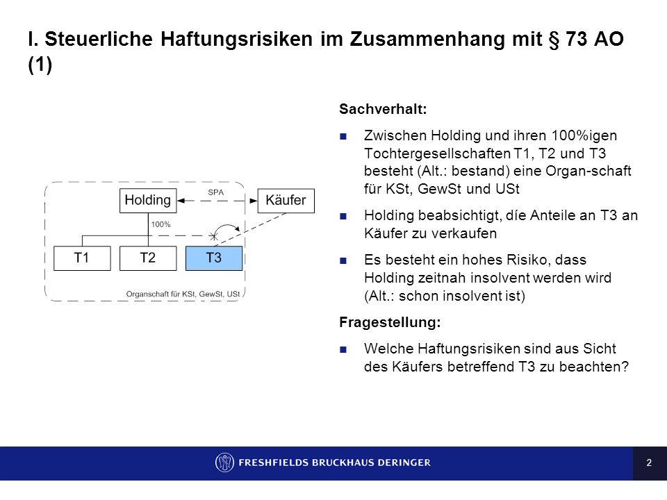 I. Steuerliche Haftungsrisiken im Zusammenhang mit § 73 AO (1)
