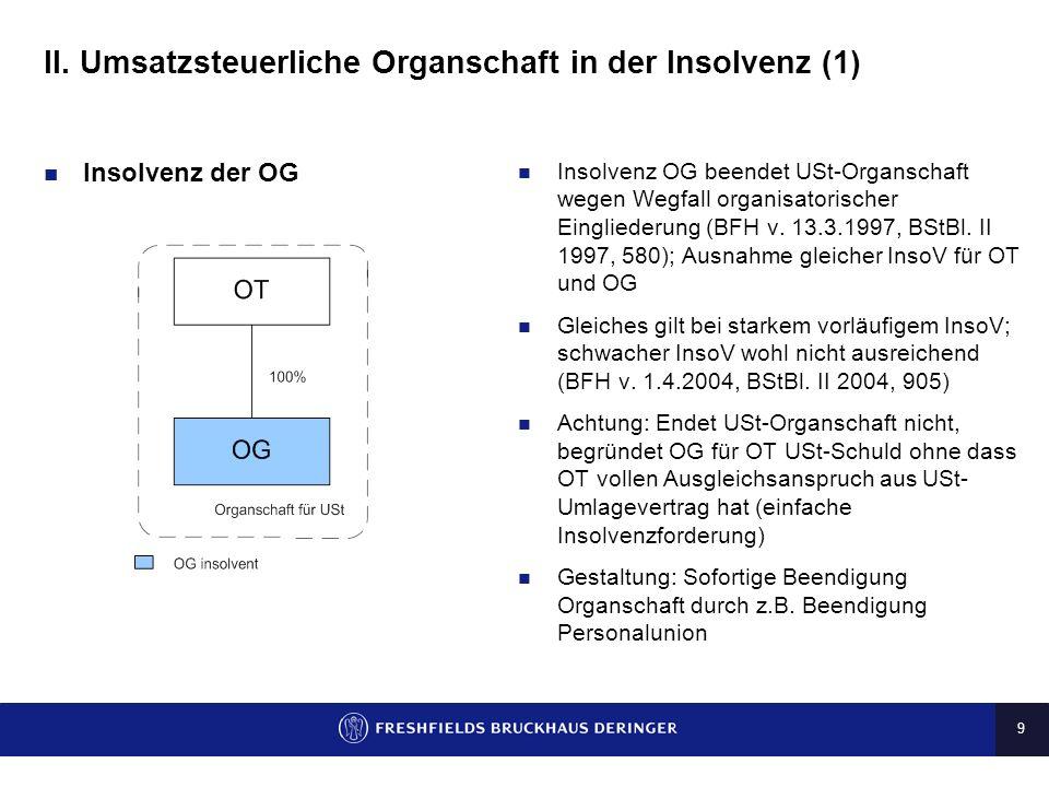 II. Umsatzsteuerliche Organschaft in der Insolvenz (1)