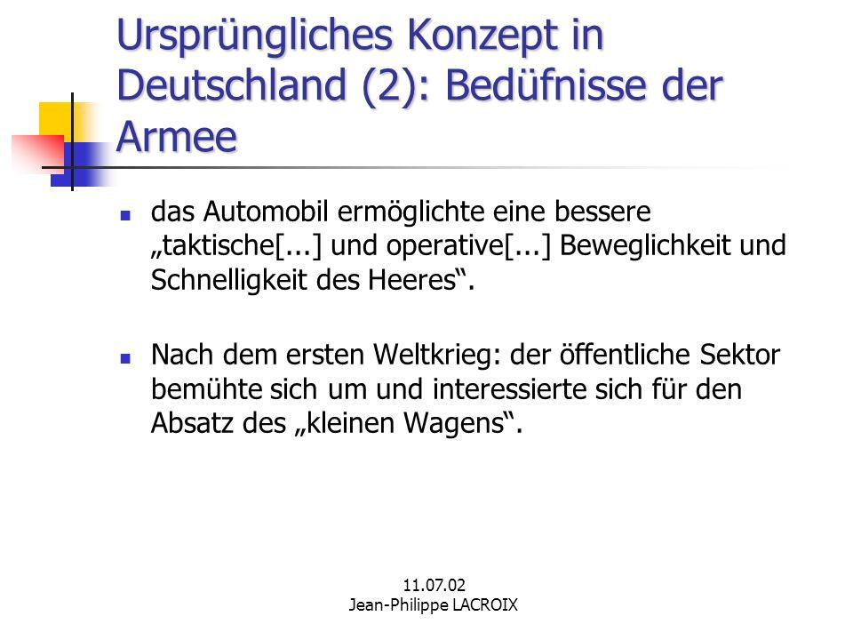 Ursprüngliches Konzept in Deutschland (2): Bedüfnisse der Armee