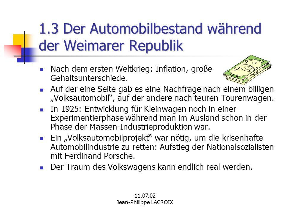 1.3 Der Automobilbestand während der Weimarer Republik