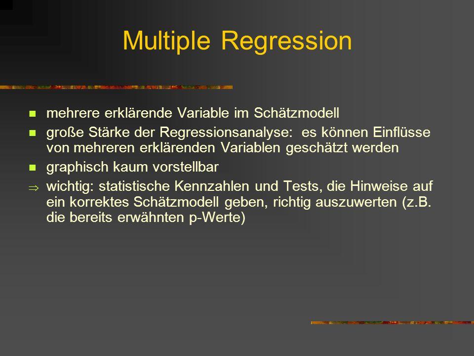 Multiple Regression mehrere erklärende Variable im Schätzmodell