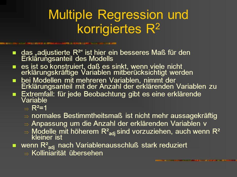 Multiple Regression und korrigiertes R2