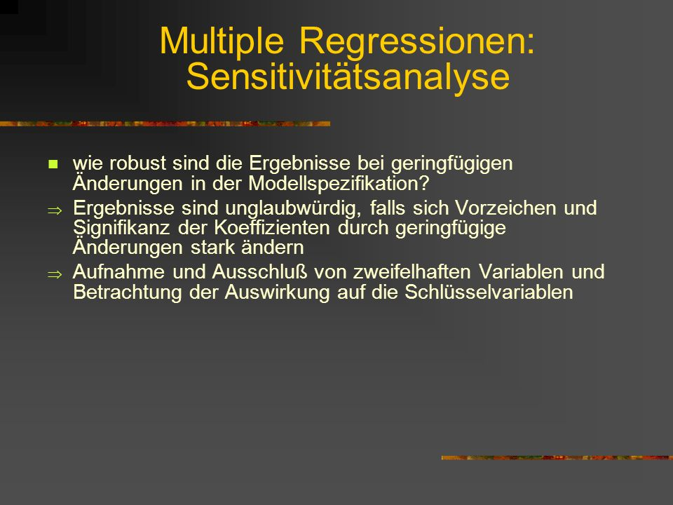 Multiple Regressionen: Sensitivitätsanalyse