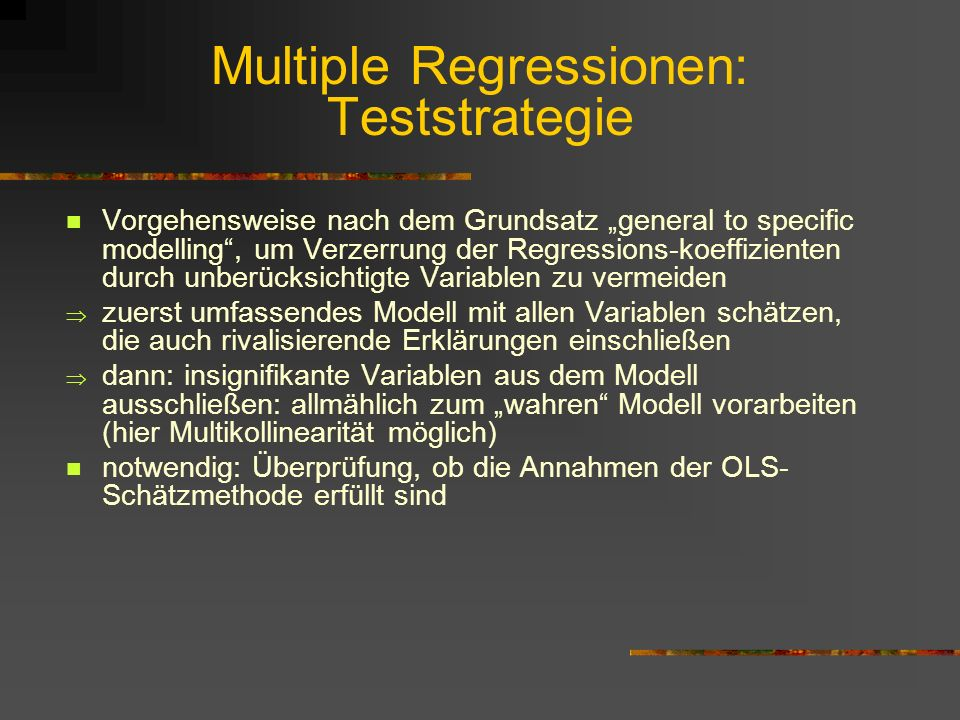 Multiple Regressionen: Teststrategie