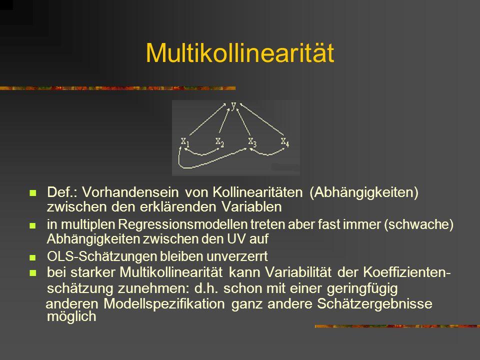 Multikollinearität Def.: Vorhandensein von Kollinearitäten (Abhängigkeiten) zwischen den erklärenden Variablen.