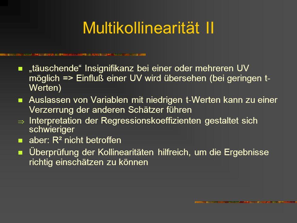 Multikollinearität II