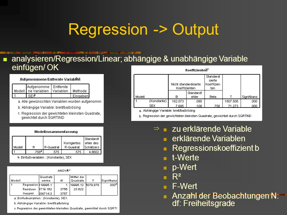 Regression -> Output
