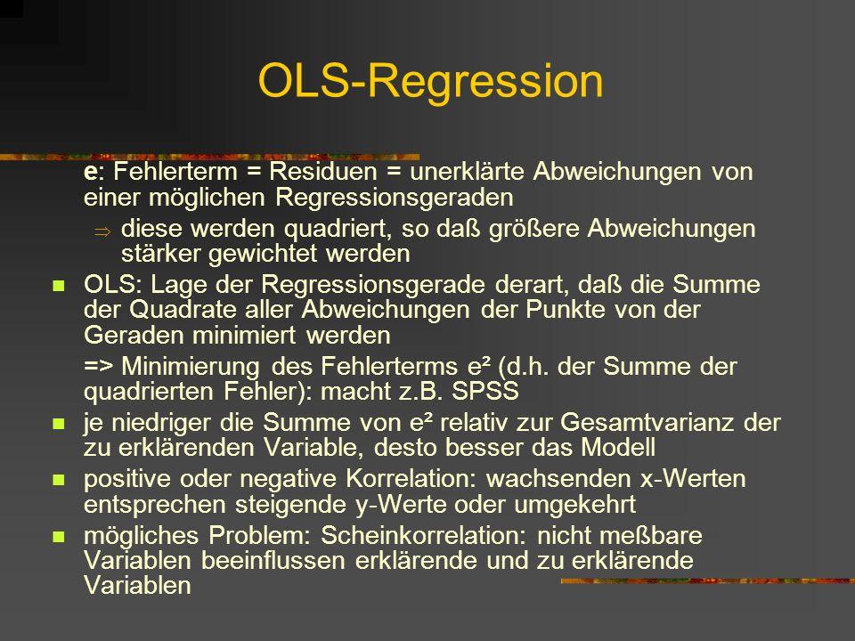 OLS-Regression e: Fehlerterm = Residuen = unerklärte Abweichungen von einer möglichen Regressionsgeraden.
