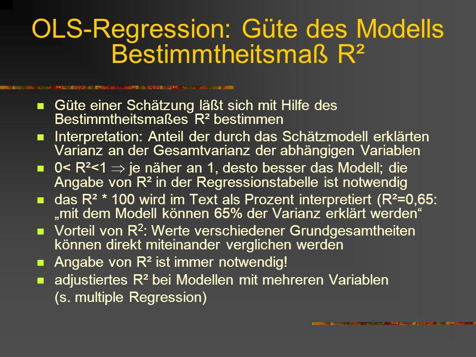 OLS-Regression: Güte des Modells Bestimmtheitsmaß R²