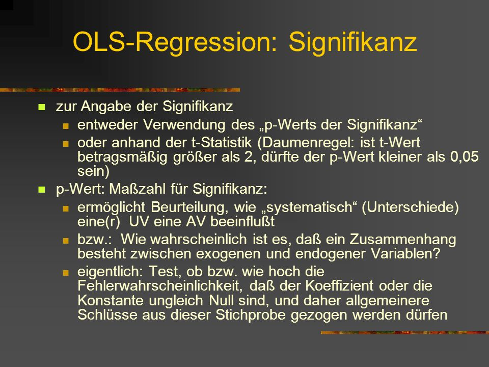OLS-Regression: Signifikanz