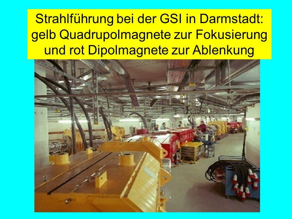 Strahlführung bei der GSI in Darmstadt: gelb Quadrupolmagnete zur Fokusierung und rot Dipolmagnete zur Ablenkung