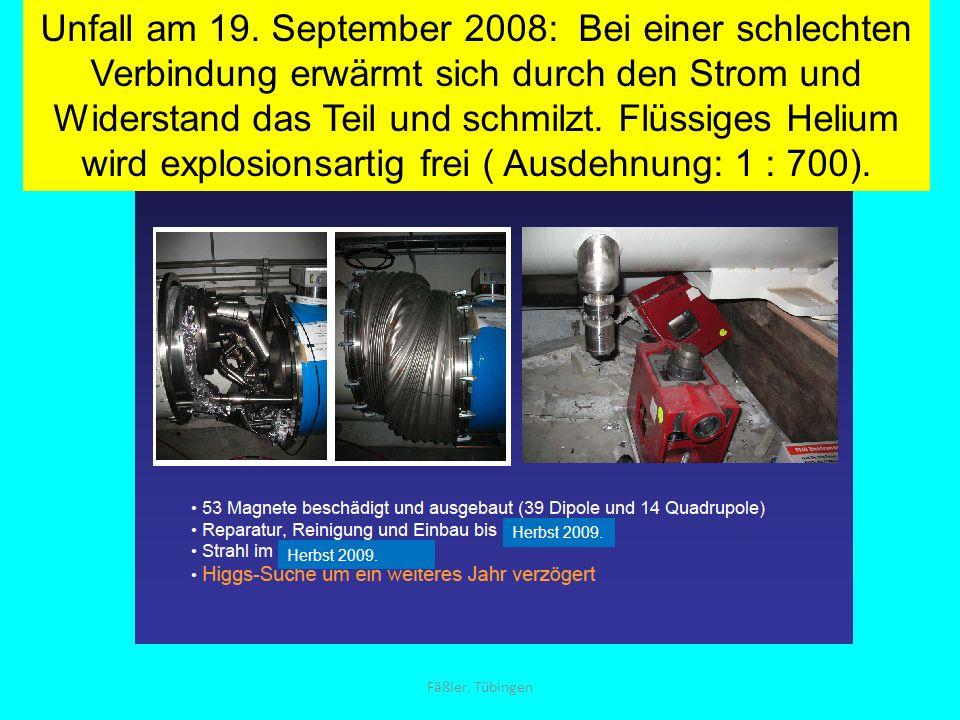 Unfall am 19. September 2008: Bei einer schlechten Verbindung erwärmt sich durch den Strom und Widerstand das Teil und schmilzt. Flüssiges Helium wird explosionsartig frei ( Ausdehnung: 1 : 700).