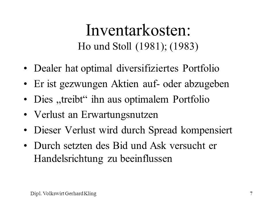 Inventarkosten: Ho und Stoll (1981); (1983)