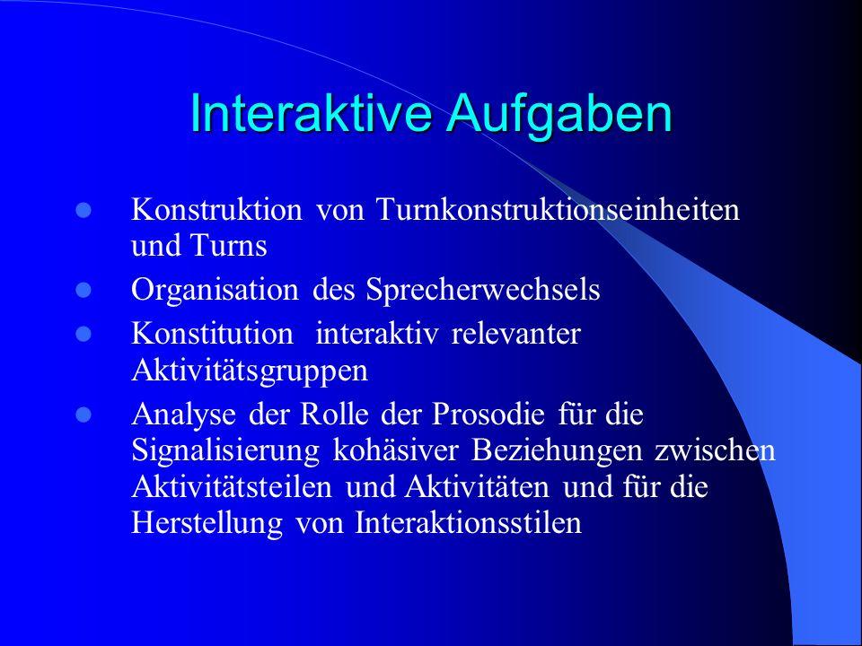 Interaktive Aufgaben Konstruktion von Turnkonstruktionseinheiten und Turns. Organisation des Sprecherwechsels.