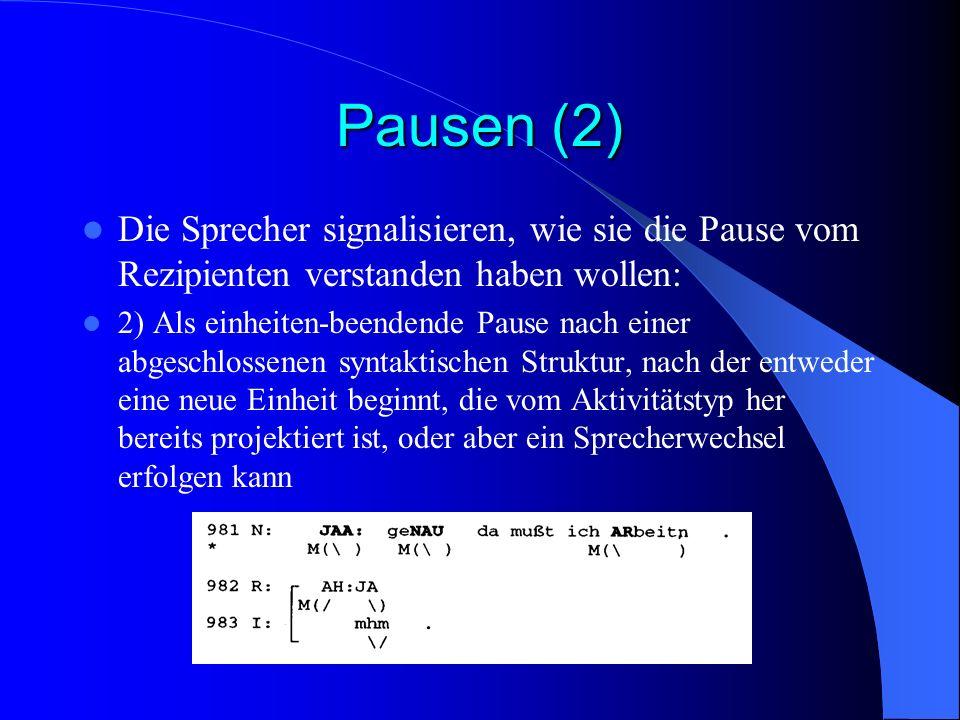 Pausen (2) Die Sprecher signalisieren, wie sie die Pause vom Rezipienten verstanden haben wollen:
