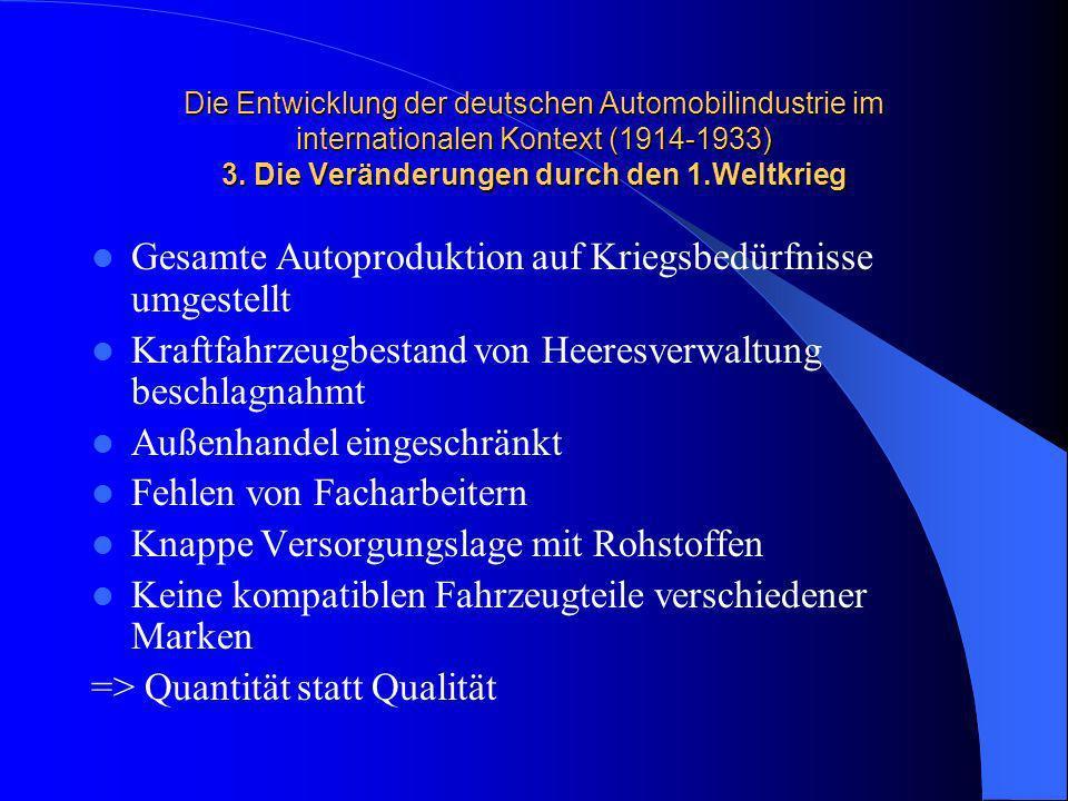 Gesamte Autoproduktion auf Kriegsbedürfnisse umgestellt