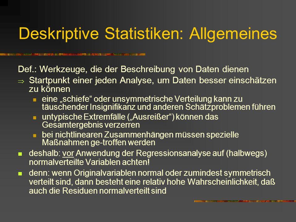 Deskriptive Statistiken: Allgemeines