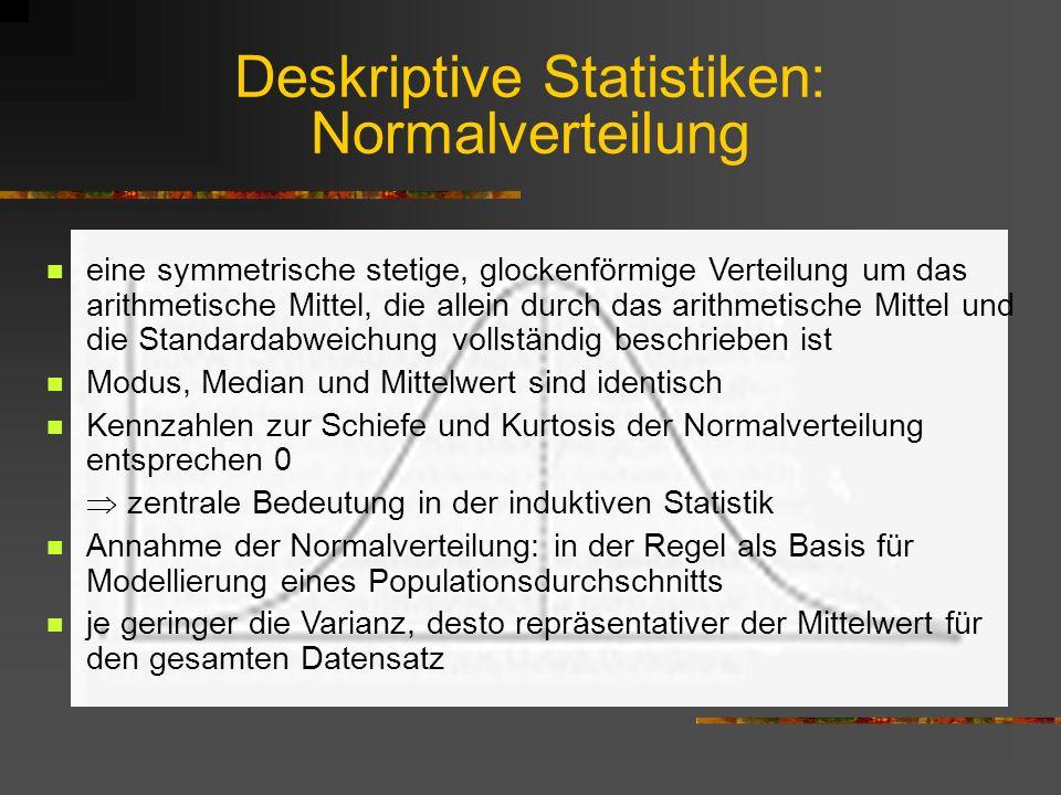Deskriptive Statistiken: Normalverteilung