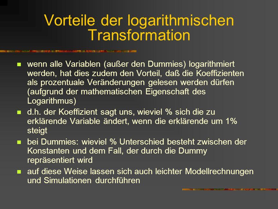 Vorteile der logarithmischen Transformation
