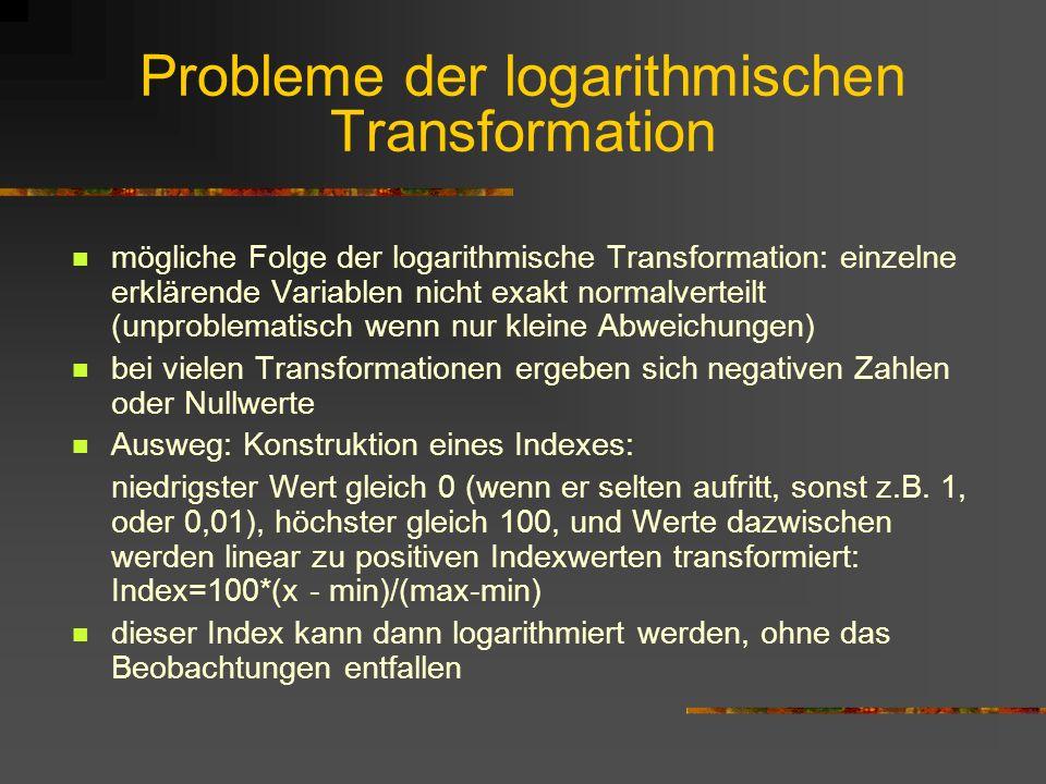 Probleme der logarithmischen Transformation
