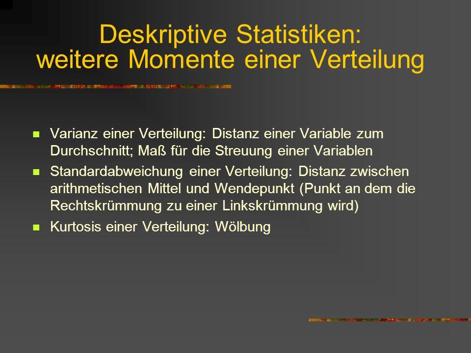 Deskriptive Statistiken: weitere Momente einer Verteilung