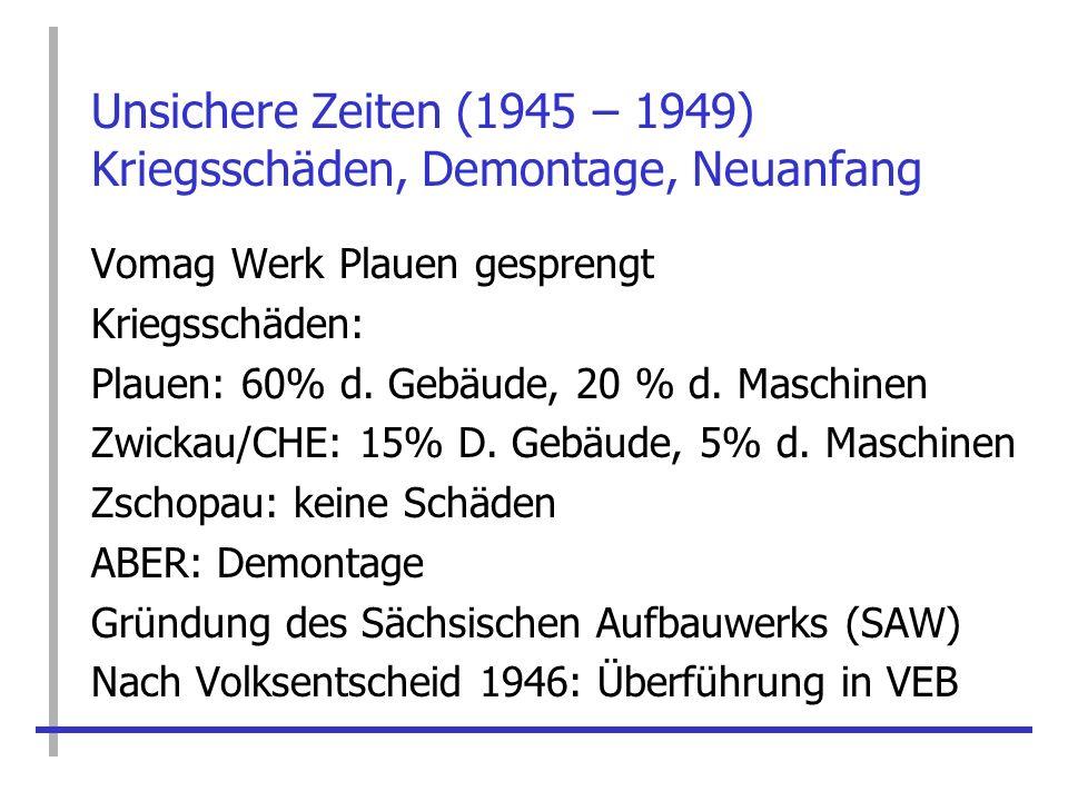 Unsichere Zeiten (1945 – 1949) Kriegsschäden, Demontage, Neuanfang