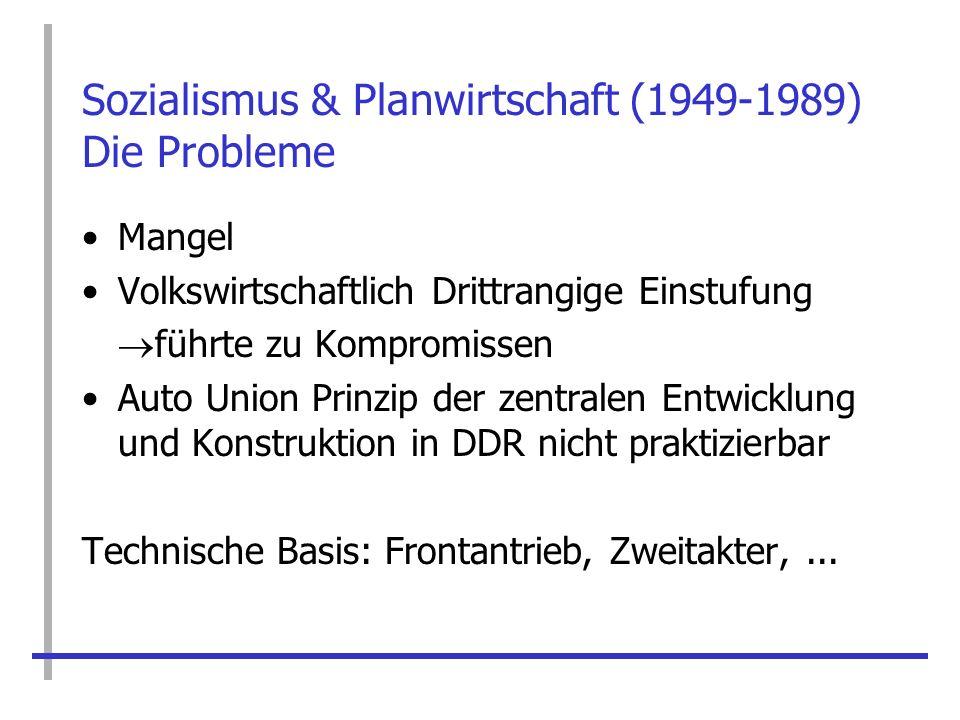 Sozialismus & Planwirtschaft (1949-1989) Die Probleme